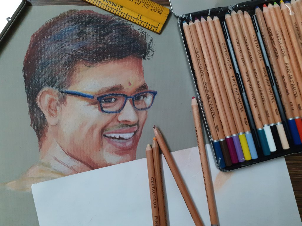 Portrait art using cretacolor pastel pencils #rajmohanartist 20200124_004519