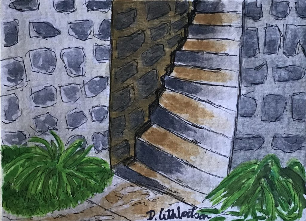 My first painting here, stones & stairs by Charlie O'shields I think 😂 50B0F368-9884-4
