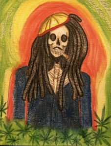 """Day of the Dead"" Bob Marley #watercolor #waxsticks 5B3E5785-2FB5-4DB9-BBBA-8BF65D3AC1C8"