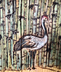 #Crane in Bamboo #watercolor (pencils and paint) washed in with #alchohol/water #Sketched #woodburne