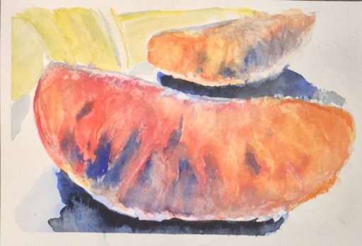 Prompts for Day 9, Lava Lamp and Day 23 Oranges both 5*7in watercolour on Canson paper, been sick so