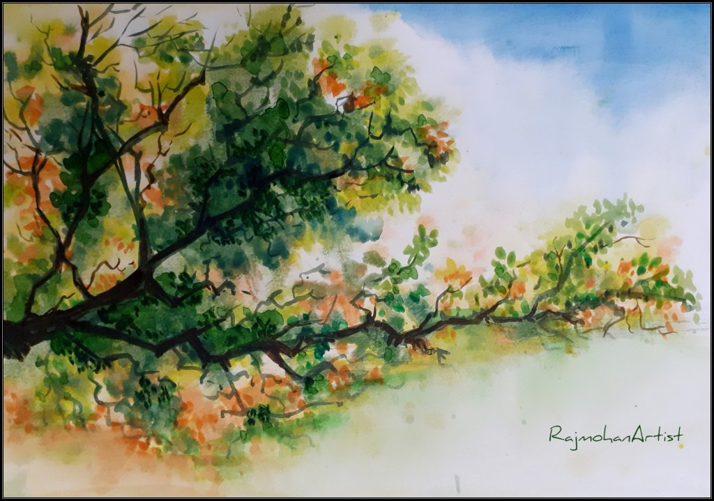 Watercolor from 2019 series.. #rajmohanartist #doodlewash Autumn-4014×2814