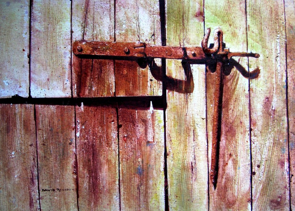 Big Barn Door Watercolour Painting