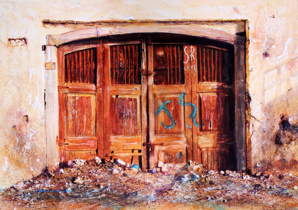 Careless Love Old Door Watercolour Painting by David Poxon