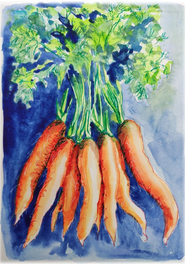 Carrots Watercolor Painting