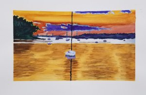 My second completed watercolor, worked off a photo I had taken of a sunset in Centerport Long Island