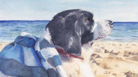 Christina Yee watercolor artist pet portrait dog barley-beerman painting