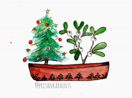 Christmas Tree Watercolor PriyankaPaints