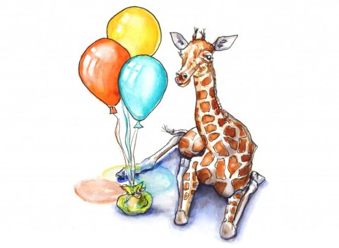 Baby Giraffee And Balloons Watercolor Painting