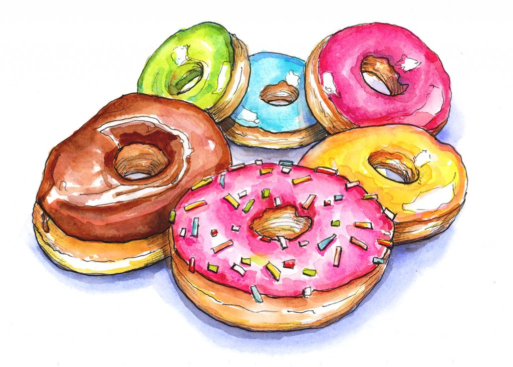 Donuts Doughnuts Six Colorful Watercolor Painting