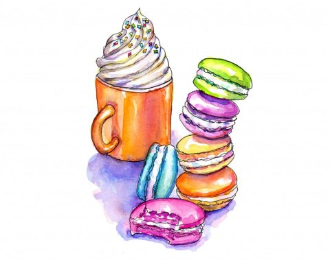 Macarons Whipped Cream Mug Watercolor Painting
