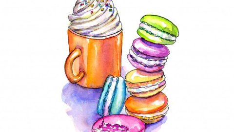 Macarons Whipped Cream Mug Watercolor Painting
