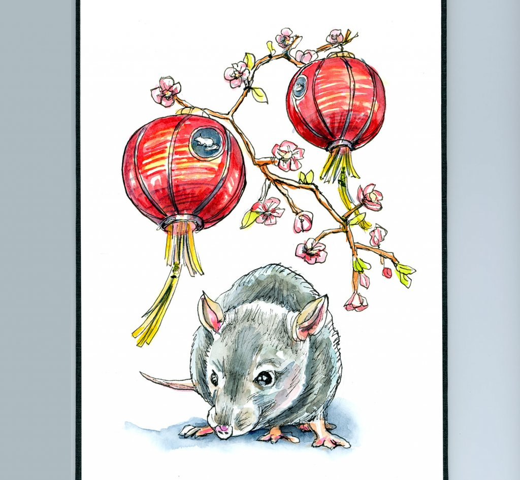 Day 25 - Chinese New Year 2020 Year Of The Rat Watercolor Illustration Sketchbook Detail
