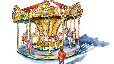 Carousel And Small Child Watercolor Painting