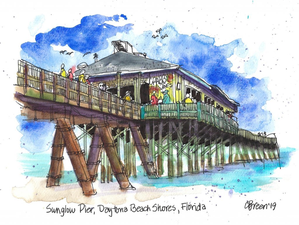 Daytona Beach Shores Drawing Urban Sketching