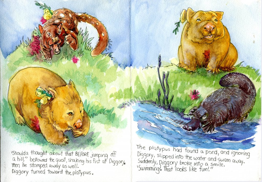 Diggory Wombat Goes Flying Part 9: The End! Zebra Zensation Technical Pen & Watercolor in a Hahn