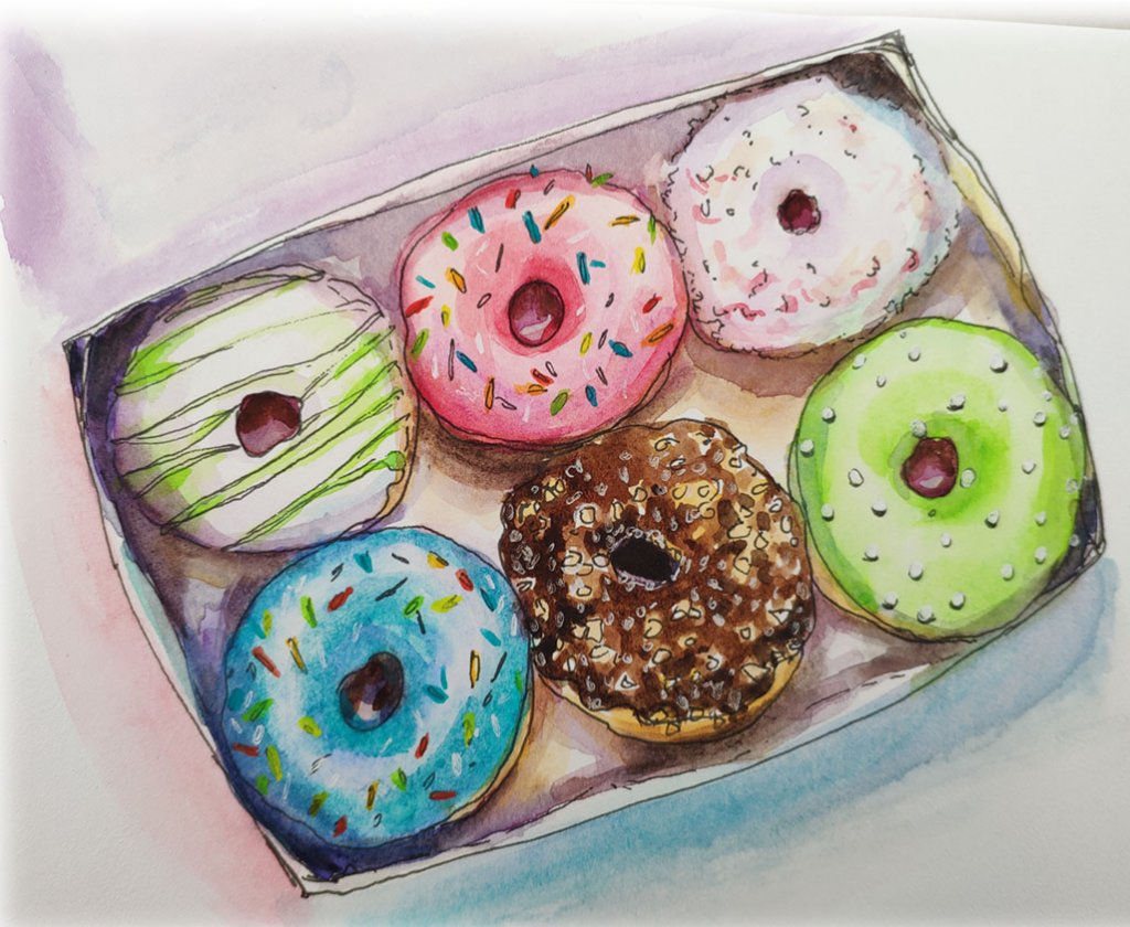 Donuts In Box Watercolor Painting by Tatiana Manukovskaya