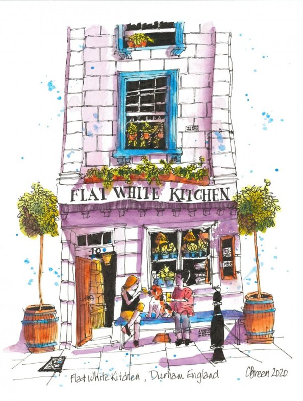 English Village Flat White Kitchen Illustration Charlie Breen
