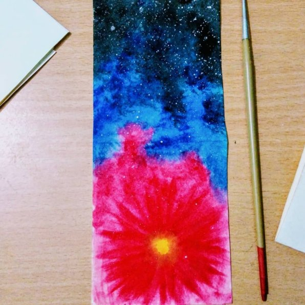 Galaxy Watercolor Flower Painting