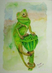 #doodlewashJanuary2020 #WorldWatercolorGroup #Beginner #Day16 #Chameleon #16Jan2020 IMG_20200116_223