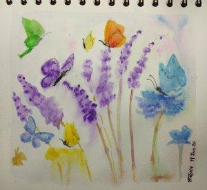 #doodlewashJanuary2020 #WorldWatercolorGroup #Beginner #Day19 #Butterflies #19Jan2020 IMG_20200120_0