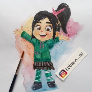 Vanellope😊🍭 from Wreck-it-ralph #watercolor #watercolorpainting #art #wreckitralph I