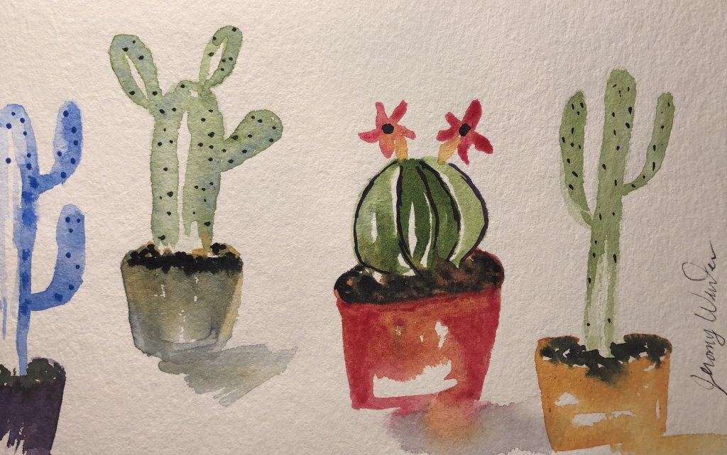 Cactus One of my favorite things to paint and admire are cacti. Growing up, my dad raced motorcycles