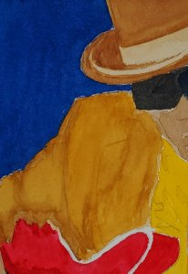 Tried to paint a John Lee Hooker album cover over the weekend. John_Lee_Hooker
