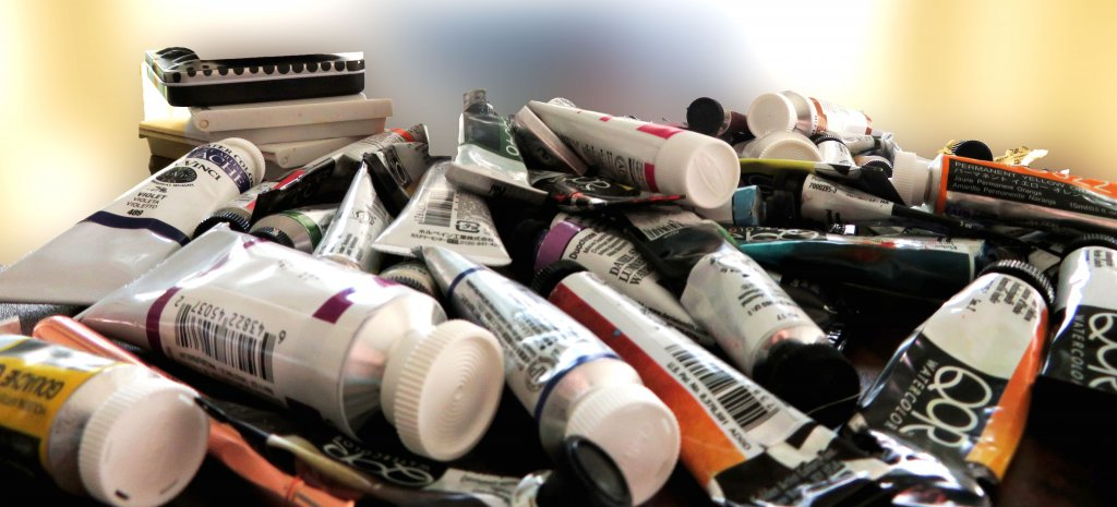 Paint Tubes and Miscellaneous Art Supplies for Storage
