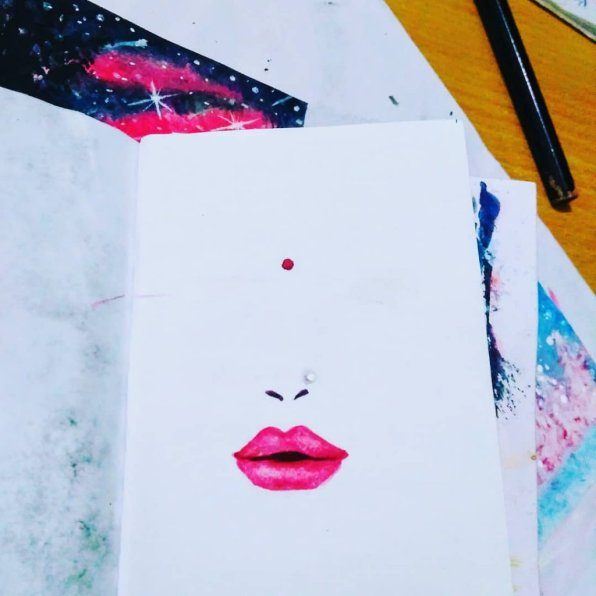 Lips Watercolor Painting PriyankaPaints