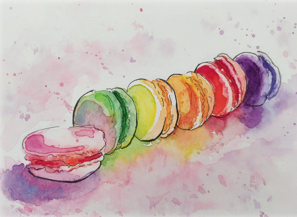 Macarons In A Row Watercolor Painting