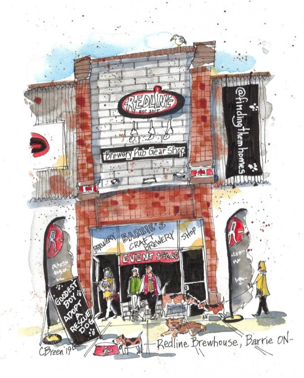 Redline Brewhouse Barrie Ontario Watercolor Sketch