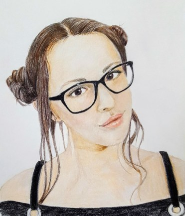 Portrait of Young Girl Chloe In Glasses Watercolor painting Judy Jones