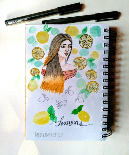 girl with lemony background