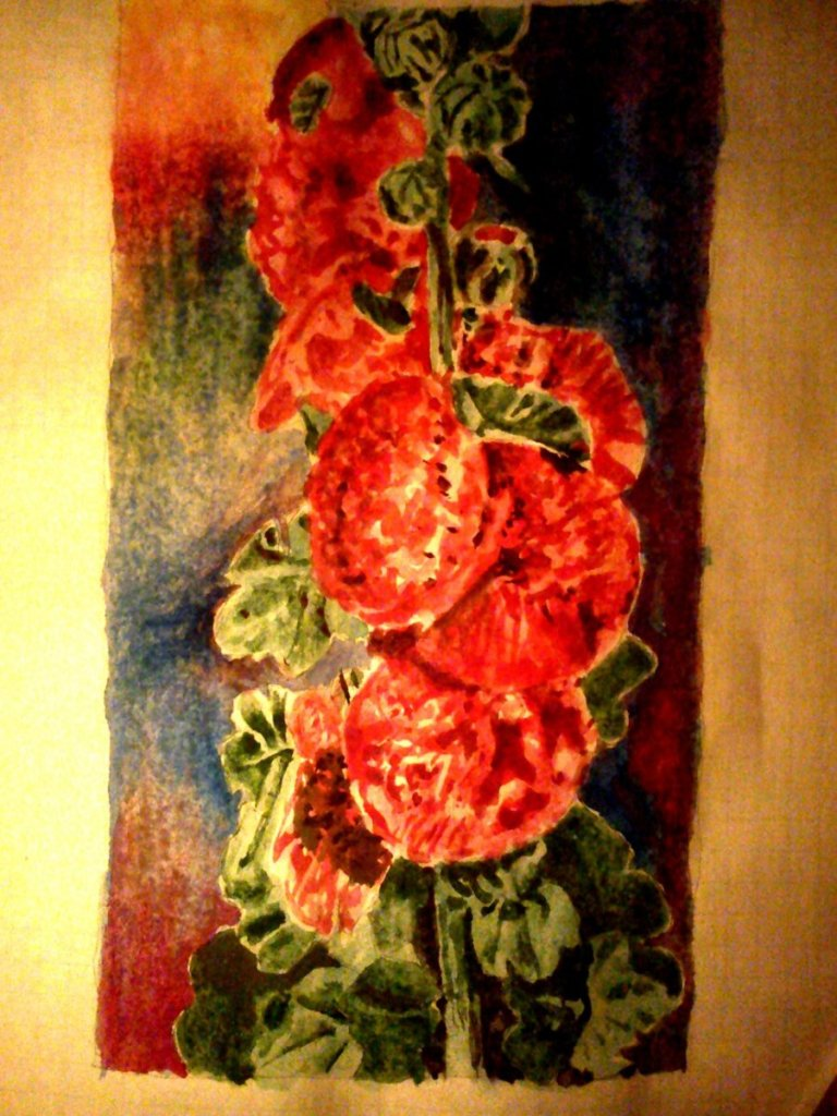 it's a better picture of the hollyhock flowers i did yesterday, it's about 8×4 inch