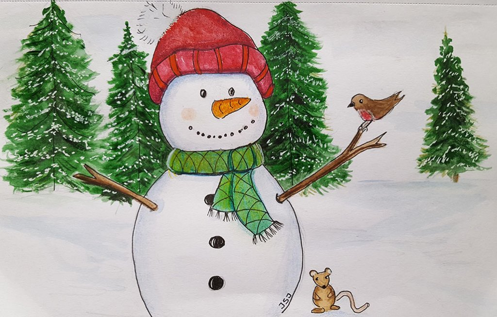 Snowman Watercolor Painting by Judy Jones