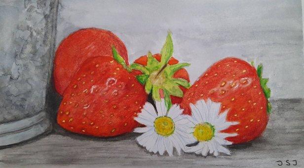 strawberries watercolor painting by Judy Jones
