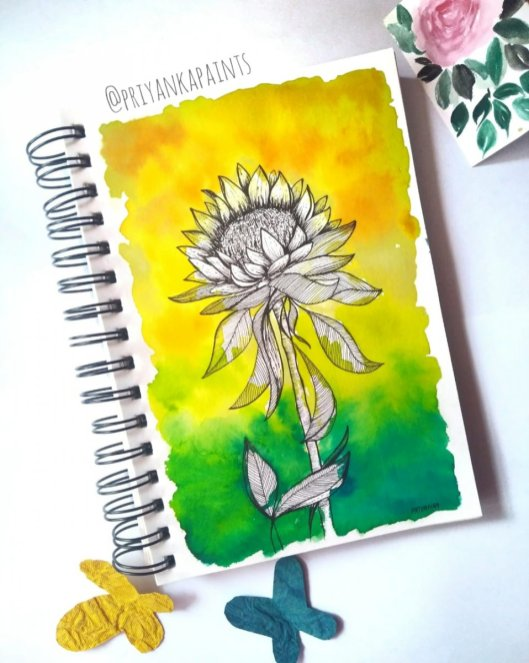 sunflower illustration watercolor PriyankaPaints