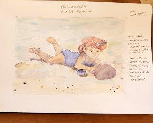 #Doodlewash #Doodlewashed #WorldWatercolorGroup Feb 28 – beach 2020-02.28-beach