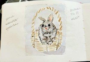 #Doodlewash #Doodlewashed #WorldWatercolorGroup Feb 29 – rabbit 2020-02.29-rabbit