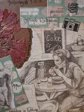 Art Journal Woman Eating In Cafe Drawing