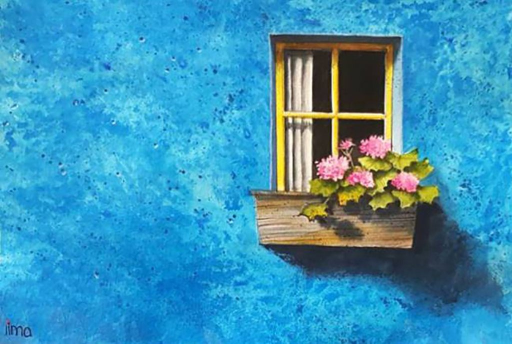 Blue House And Window Watercolor Painting by Nereida Lima