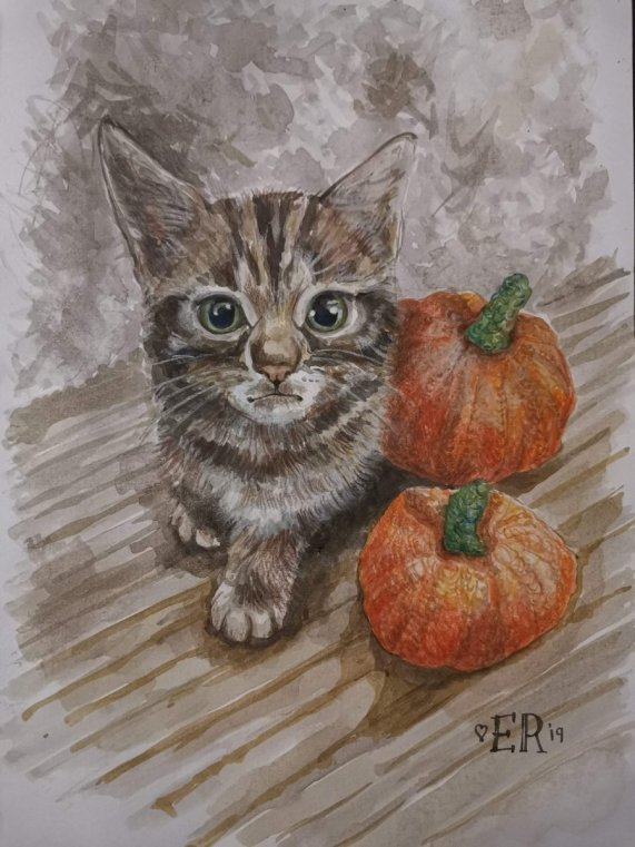 Cat and Pumpkins Watercolor Painting