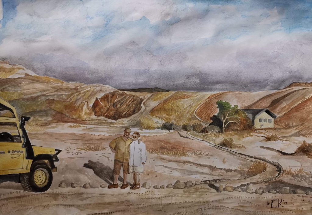 Couple On Rural Landscape Watercolor Painting