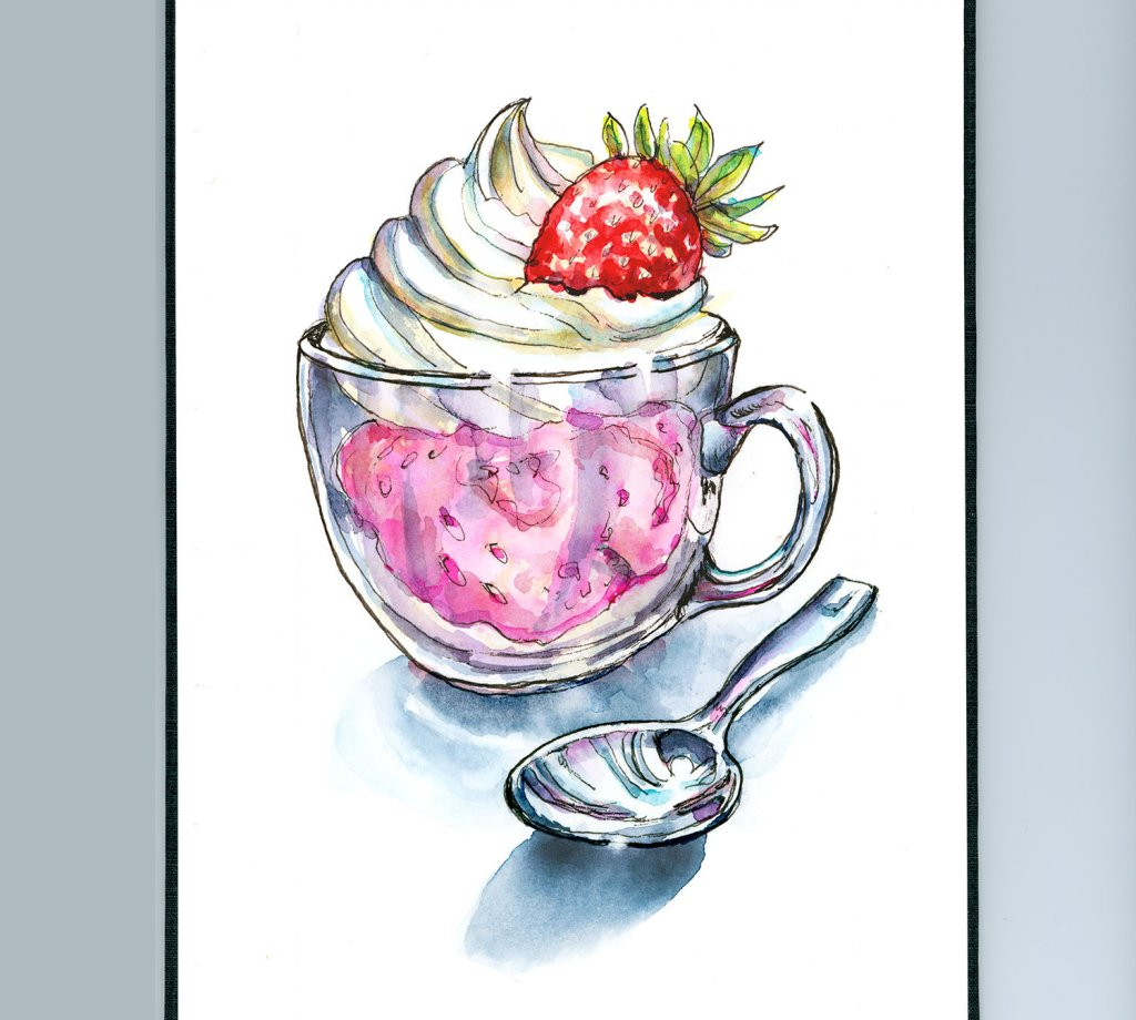 Strawberry Ice Cream Whipped Cream Watercolor Painting Sketchbook