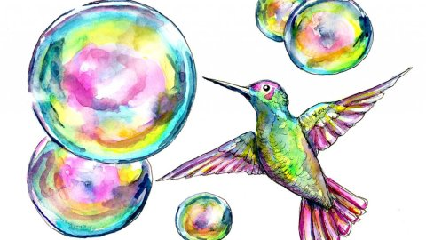 Hummingbird And Bubbles Watercolor Painting