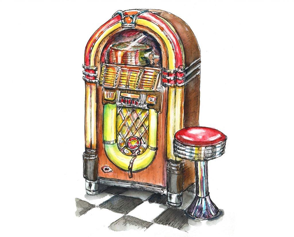 Wurlitzer Jukebox 50's Dinner Stool Watercolor Painting