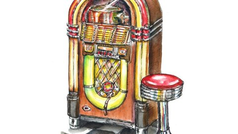Wurlitzer Jukebox 50's Dinner Stool Watercolor Painting