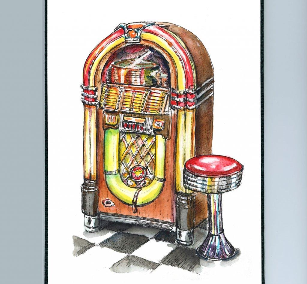 Wurlitzer Jukebox 50's Dinner Stool Watercolor Painting Sketchbook Detail