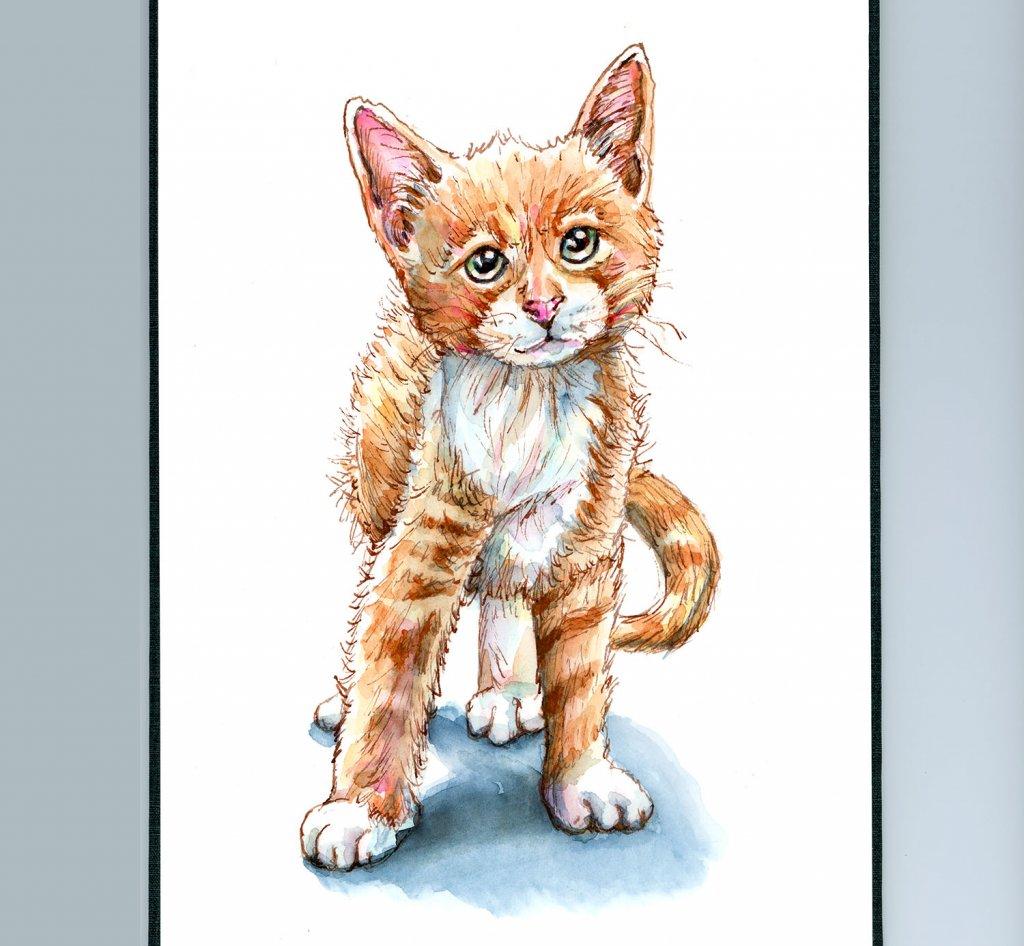 Kitten Tabby Cat Golden Orange Watercolor Painting Sketchbook Detail